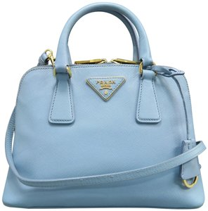 Prada Small Saffiano Promenade Satchel in blue