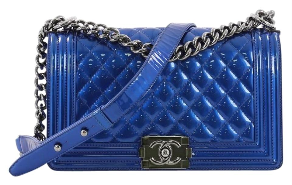 c51899df9b58 Chanel Classic Flap Boy Quilted Patent Old Medium Blue Leather Shoulder Bag