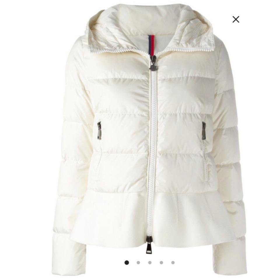 5e7758767 Moncler Cream Nesea Quilted Puffer W Wool Trim Coat Size 12 (L ...