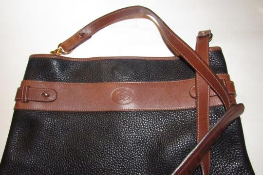 Gucci Mint Vintage Equestrian Accents Xl Black/Brown Early Tote in black pebbled leather and brown leather Image 11