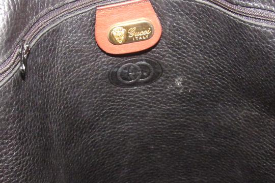 Gucci Mint Vintage Equestrian Accents Xl Black/Brown Early Tote in black pebbled leather and brown leather Image 3