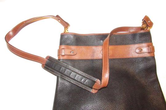 Gucci Mint Vintage Equestrian Accents Xl Black/Brown Early Tote in black pebbled leather and brown leather Image 7