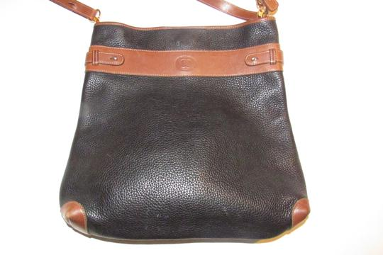 Gucci Mint Vintage Equestrian Accents Xl Black/Brown Early Tote in black pebbled leather and brown leather Image 8