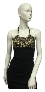 bebe Black, Gold Halter Top