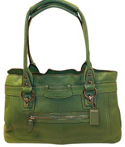 Coach New Gift Idea Pebbled Leather Tote Satchel in Green/Silver