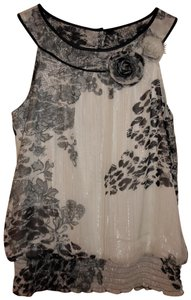 Maurices Flowers Sparkle Top Black, White, Silver