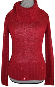 L.E.I. Fitted Cowl Neck Sparkle Sequined Knit Sweater