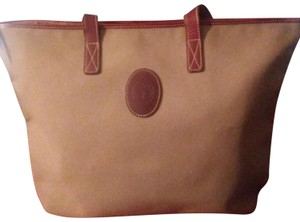 Levenger Tote in Tan& red leather straps