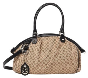 Gucci Sukey Diamante Boston Canvas Satchel in Beige/Ebony
