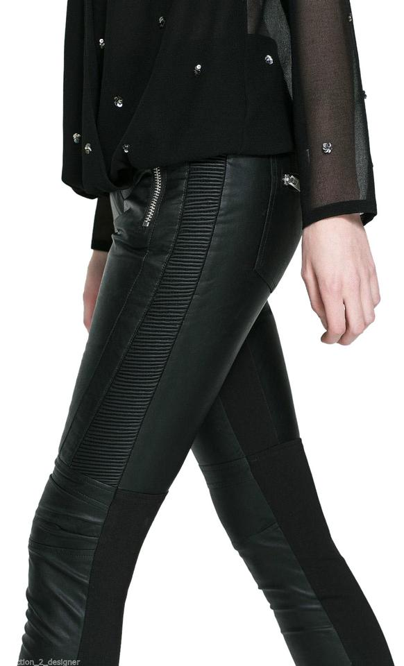 63630130 Zara Black Coated Trafaluc Faux Leather Motorcycle Moto Pants Skinny ...