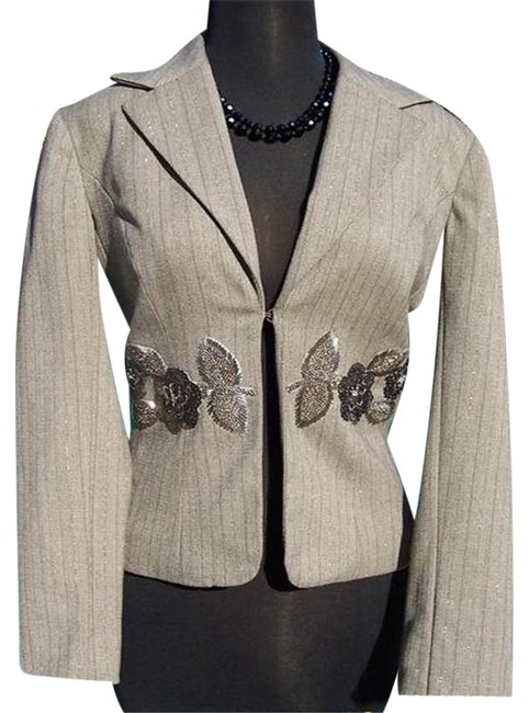 Item - Oatmeal Brown Multi Luxe Elaborate Embellished Lined Top Suit Jacket Blazer Size 0 (XS)