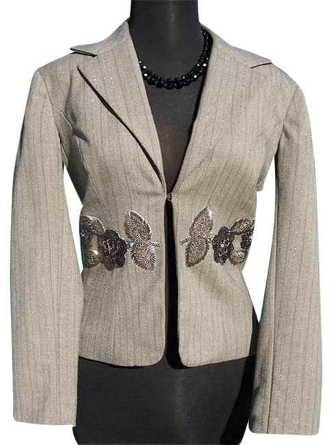 Item - Oatmeal Brown Multi Luxe Elaborate Embellished Lined Top Suit Jacket Blazer Size 4 (S)