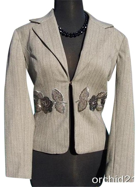 Item - Oatmeal Brown Multi Luxe Elaborate Embellished Lined Top Suit Jacket Blazer Size 8 (M)