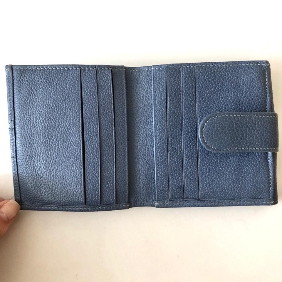 d9c99cc80ed Longchamp Longchamp Pilot Blue Le Foulonne Pebbled Leather Wallet Image 3.  1234