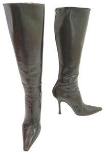 Jimmy Choo Leather Dark Brown Boots