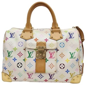 Louis Vuitton Travel Carry On Tablet Laptop Phone School Business Purs Lv Mc Rainbow Vintage Limited Work Satchel in multicolor/white