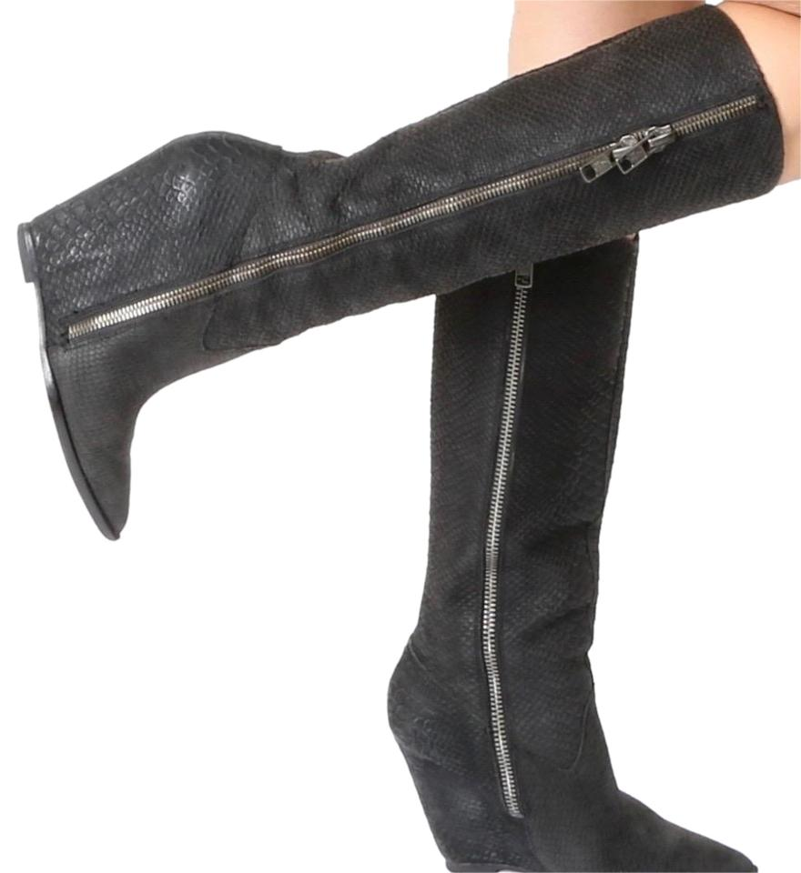 8d82937858b Ash Black Joyce Leather Knee High Wedge Boots Booties Size US 7.5 ...