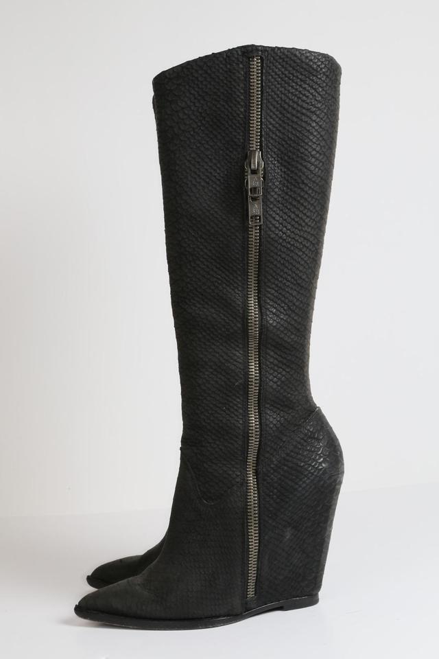 50a6e36ab78 Ash Black Joyce Leather Knee High Wedge Boots Booties Size US 7.5 Regular  (M