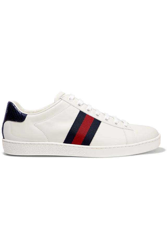 ee8e37f36469 Gucci Ace Watersnake and Canvas-trimmed Leather Sneakers Size EU 38 ...