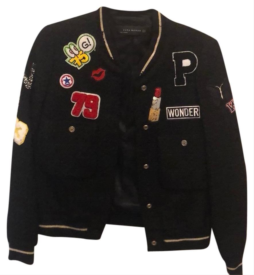 633fdf99 Black Patched Bomber Jacket