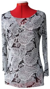 INC International Concepts Paisley Top Black and white