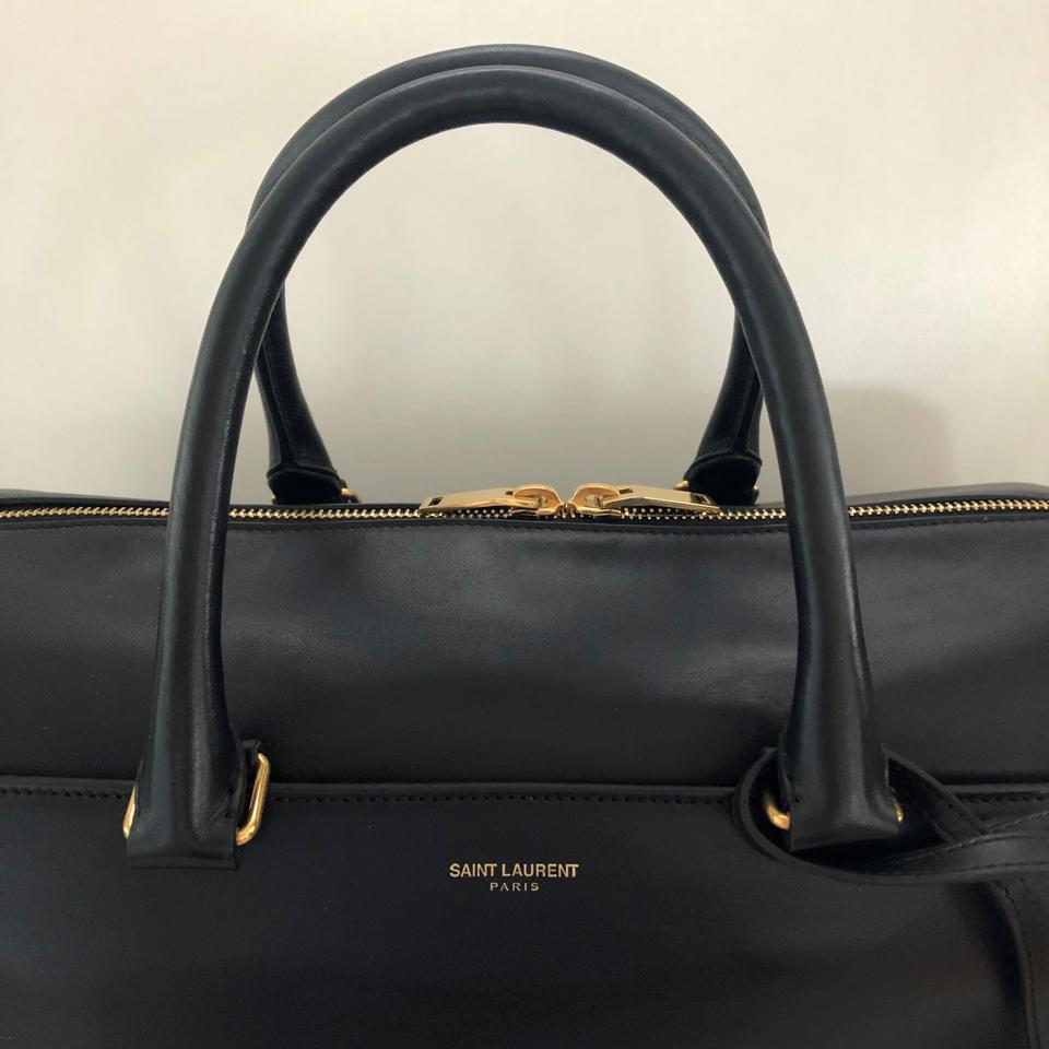61184bfab49b Saint Laurent Ysl Duffel 6 - Smooth Black Leather Tote - Tradesy