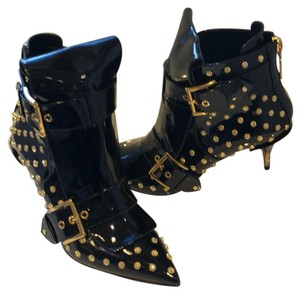 Alexander McQueen black with gold Boots