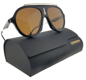 Carrera FLAG-80770-57 Aviator Unisex Black Frame Brown Lens Sunglasses NWT