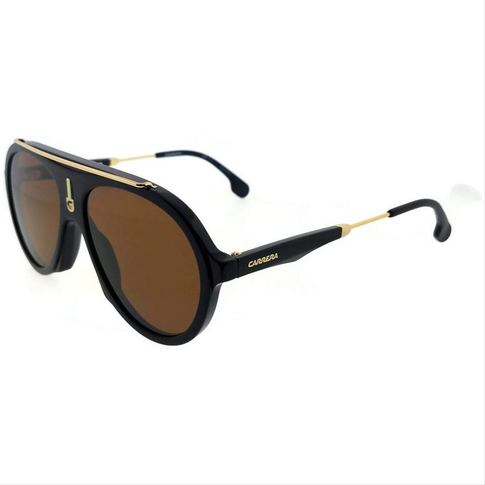 513ee1a7b9 Carrera FLAG-80770-57 Aviator Unisex Black Frame Brown Lens Sunglasses NWT  Image 5. 123456