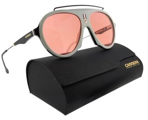 Carrera FLAG-7DM-W9-57 Aviator Unisex White Frame Pink Lens Sunglasses NWT