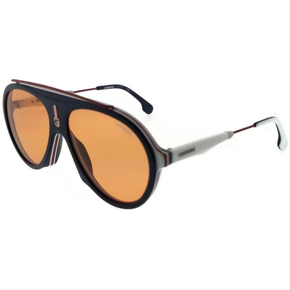 62830a052a Carrera FLAG-8RUW7-57 Aviator Unisex Blue Frame Orange Lens Sunglasses NWT  Image 5. 123456