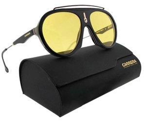 Carrera FLAG-GUUHO-57 Aviator Unisex Black Frame Yellow Lens Sunglasses NWT