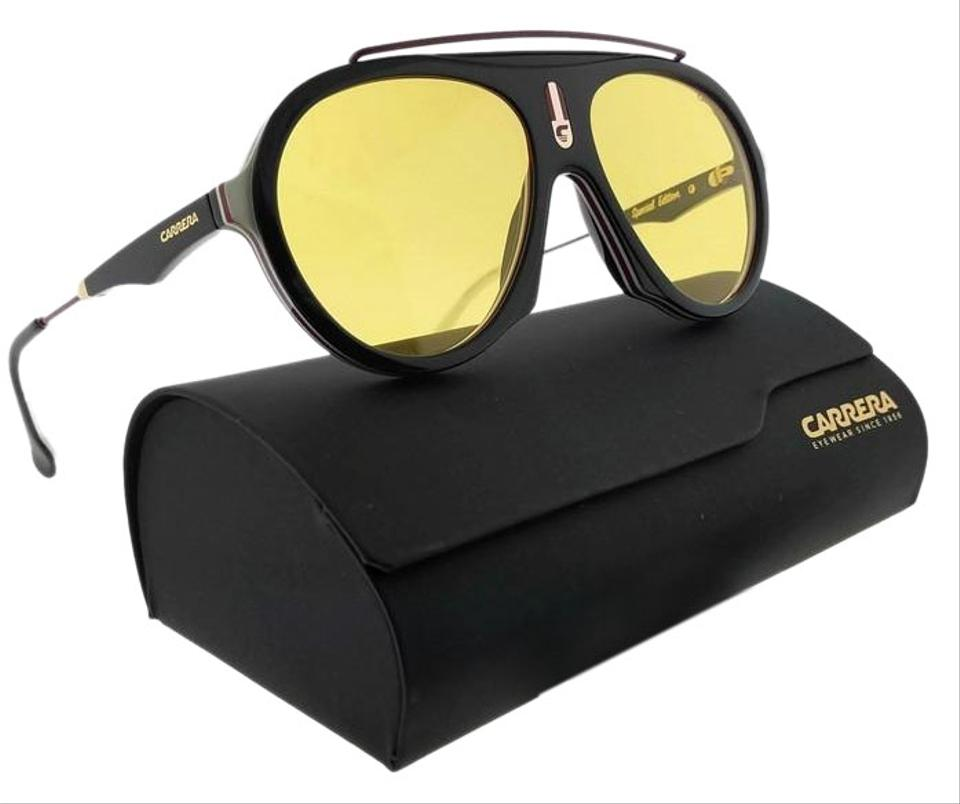 9313823bc7c Carrera FLAG-GUUHO-57 Aviator Unisex Black Frame Yellow Lens Sunglasses NWT  Image 0 ...