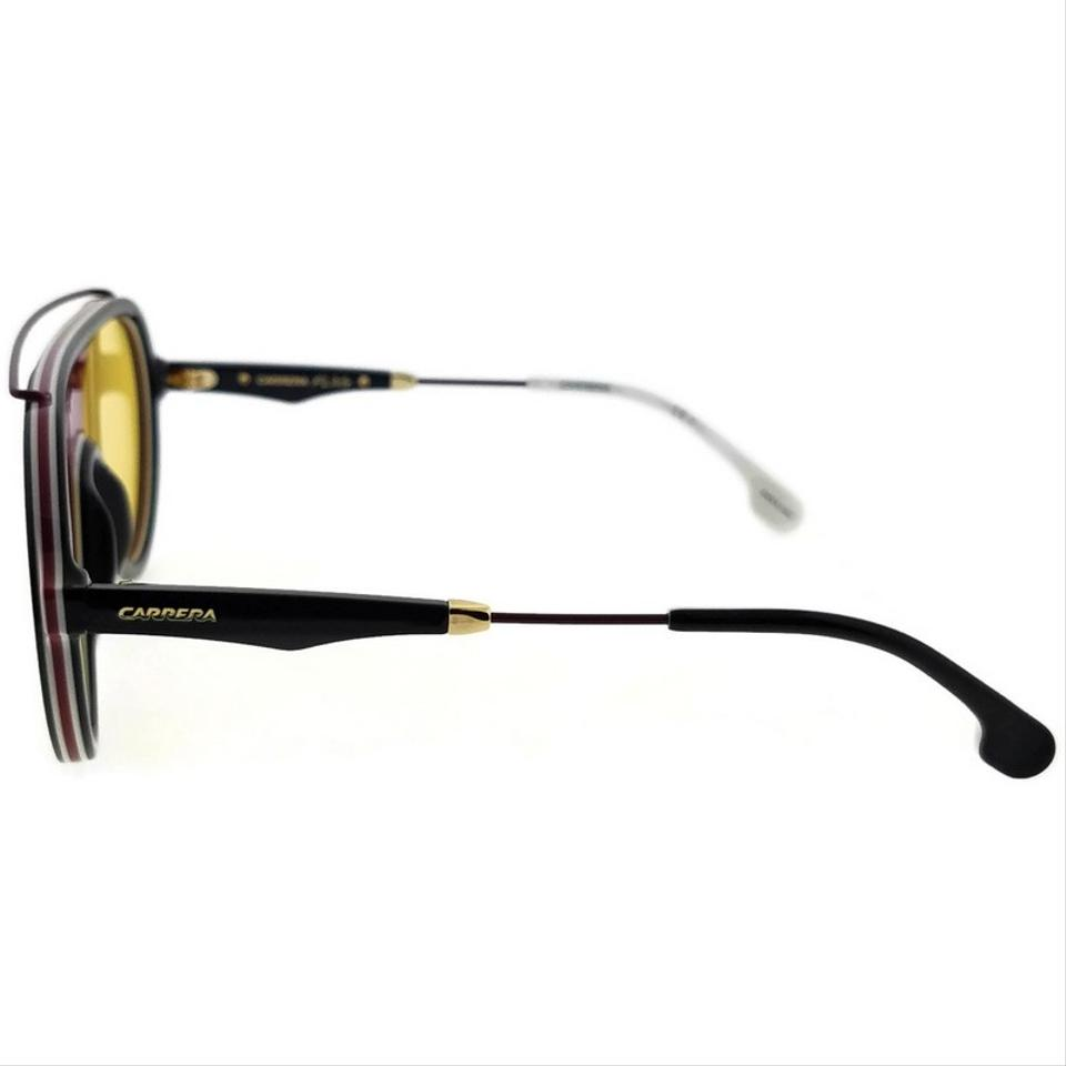 8d0e5c9842 Carrera FLAG-GUUHO-57 Aviator Unisex Black Frame Yellow Lens Sunglasses NWT  Image 5. 123456