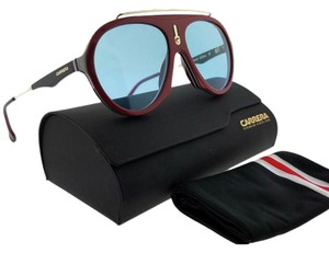 Carrera FLAG-6K3KU-57 Aviator Unisex Burgundy Frame Blue Lens Sunglasses NWT