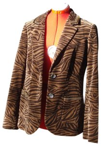 Boden Velvet Tiger Zebra Animal Print Fitted Brown Blazer