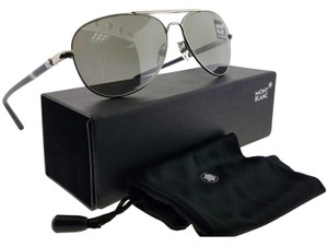 009a95130e Montblanc MB509S-16C-61 Aviator Men s Silver Frame Grey Lens Genuine  Sunglasses