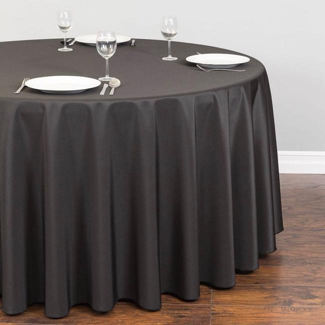 "Item - Black 10 Round Premium Polyester 132"" Tablecloth"
