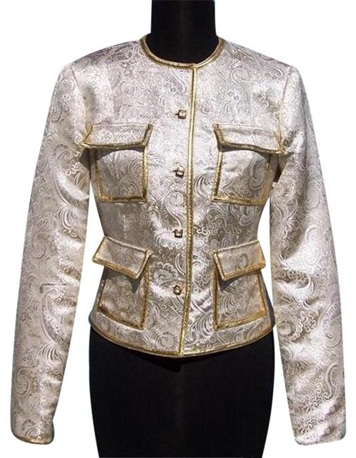 Item - Gold Silver Metallic Brocade Top Jacket New / Lined Event Evening Blazer Size 6 (S)