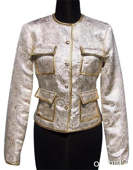 Item - Gold Silver Metallic Brocade Top Jacket New / Lined Event Evening Blazer Size 10 (M)
