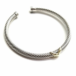 "David Yurman PHENOMENAL!! LIKE NEW!! David Yurman 18k Yellow Gold and Sterling Silver ""X"" Cable Cuff Bracelet 4mm 18 Karat Yellow Gold 7"" but very flexible 100% Authentic Guaranteed!! Comes with Original David Yurman Pouch!!"
