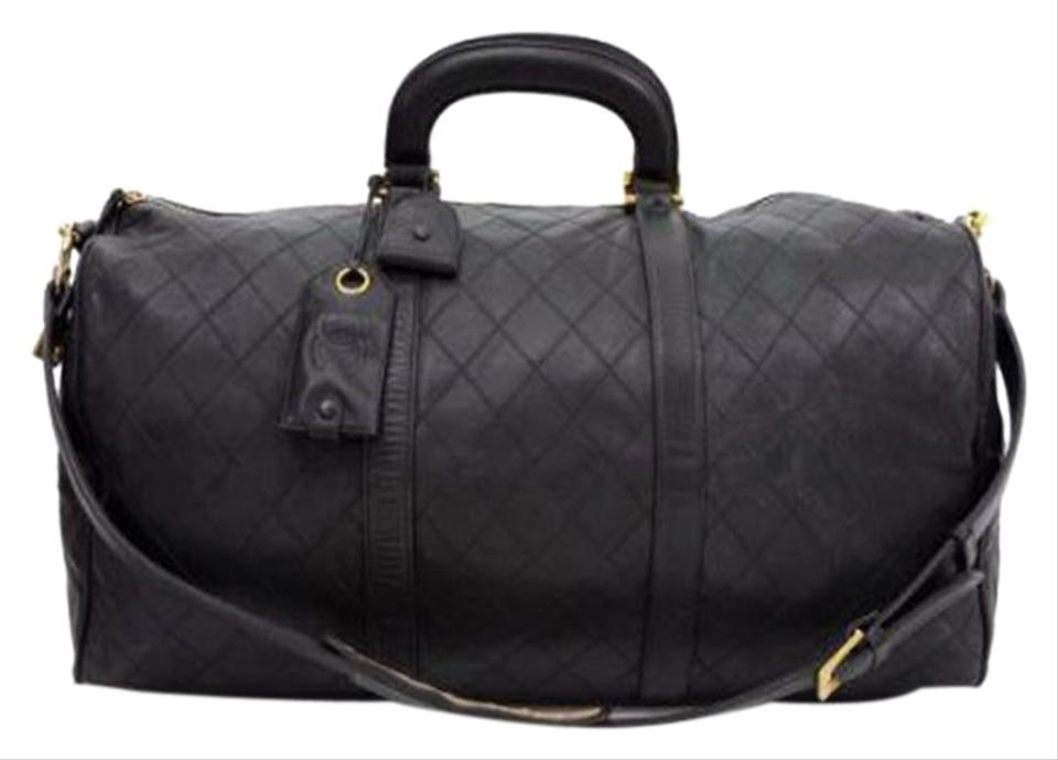 840ad37fe53d Chanel Vintage Boston Duffle Luggage Black Lambskin Weekend/Travel ...