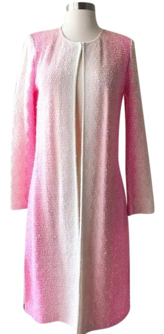 Item - White and Pink Ombre Collarless Wool Topper Long Coat Size 2 (XS)