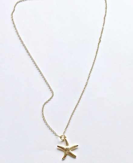 SeaglassGemsbyCherie 22k Gold Vermeil Starfish Pendant Necklace 18 inch Chain Stamped 925 Image 1