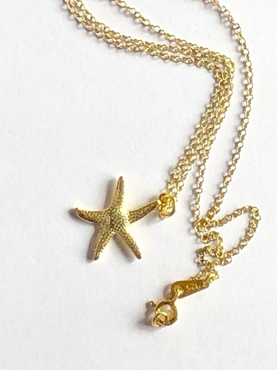 SeaglassGemsbyCherie 22k Gold Vermeil Starfish Pendant Necklace 18 inch Chain Stamped 925 Image 5