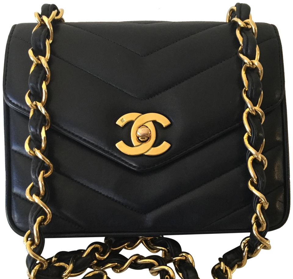 b293f6bb6dbb Chanel Classic Flap Rare Vintage Chevron Quilted Mini Black Lambskin ...