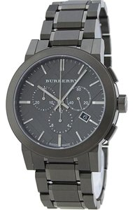 Burberry Black Mens Large Check Gray Ion Plated Stainless Steel Watch BU9354
