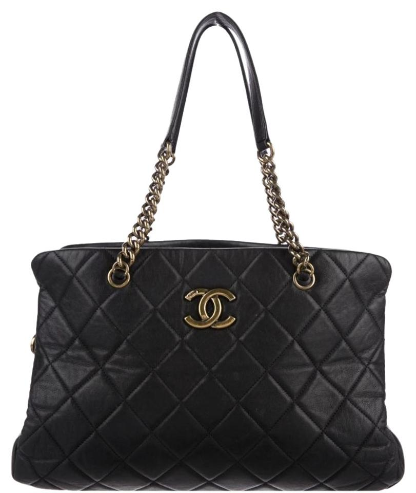 3239c0947184 Chanel Shopping Cc Crown Black Leather Tote - Tradesy