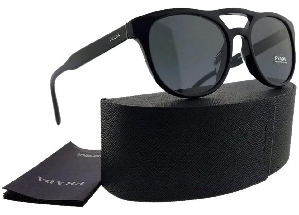 4160aba1b976 Prada PR13TSF-1AB5S0-54 Aviator Men Black Frame Grey Lens Genuine Sunglasses  Image 0 ...