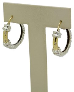 ALS Italy ALS ITALY Sterling Silver & 18k Yellow Gold with Diamond Hoop Earrings